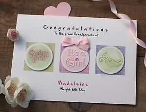 Handmade-Personalised-New-Baby-Christening-Card-Girl-or-Boy-Sweet-Pea