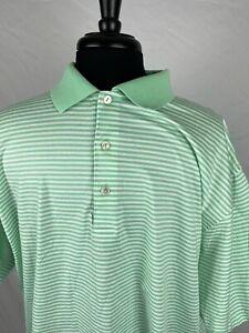 Peter Millar Short Sleeve Polo Golf Shirt Mint Striped Cotton Adult Men's XL