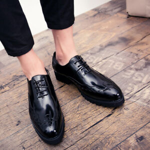 Mens Pointy Toe Dress Formal Business Wedding Oxfords Retro Casual Leather Shoes