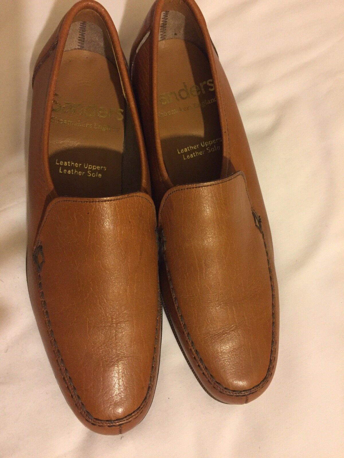 Mens Sanders shoesmaker England Brown leather Slip On shoes size Used 3194