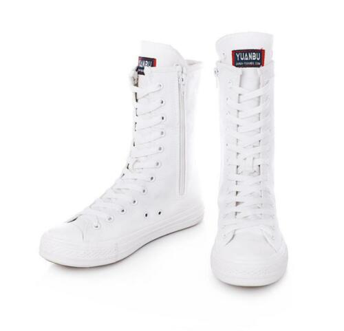 Womens Girls Canvas High Tops Zip Boots Lace Up High Tops Sneakers Dance Shoes