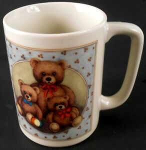 Otagiri-Teddy-Bear-Family-Coffee-Cup-Mug-Vintage-Made-in-Japan