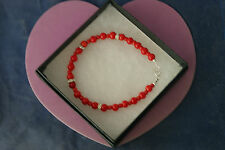 "Beautiful Bracelet With Coral And Red Agate 8"" Inc.Long 925 Silver Clasps In Box"