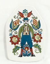 Vtg Figgjo Fajanse Flint Saga Norsk Norway Folk Wall Tile Plaque Man Flowers MCM