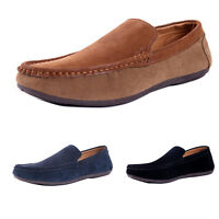 MENS SUEDE LEATHER DRIVING SHOES CASUAL SLIP ON BOYS MOCCASIN LOAFERS SHOE SIZE