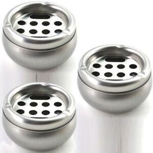 3x-Metall-Aschenbecher-Aschen-Becher-Ascher-Sturmaschenbecher-rund-ca-10-5-cm
