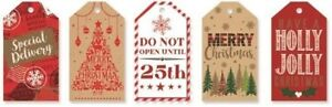 40 x Modern Contemporary Christmas Luxury Gift Tags Xmas Wrapping Red Gold
