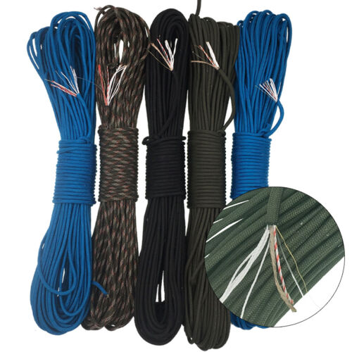 50 100Feet Waterproof 550 Paracord Parachute Fire Tinder Cord Survival Emergency