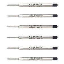 6 Parker Quink Flow Ball Point Pen Refill Black Ink Fine Jotter