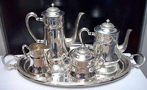 WONDERFUL-ART-NOUVEAU-WMF-Silverplate-Coffee-amp-Tea-Set-Floral-Design-MINT