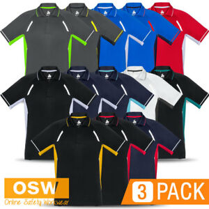 3 X Mens Ladies Modern Micro Polyester Ventilated Design Polo Work
