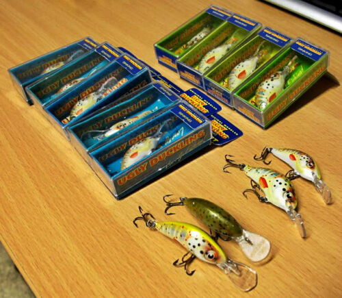 Lot of 13 Ugly Duckling Fishing Lures, Balsa Wood, finesse fishing ultra light