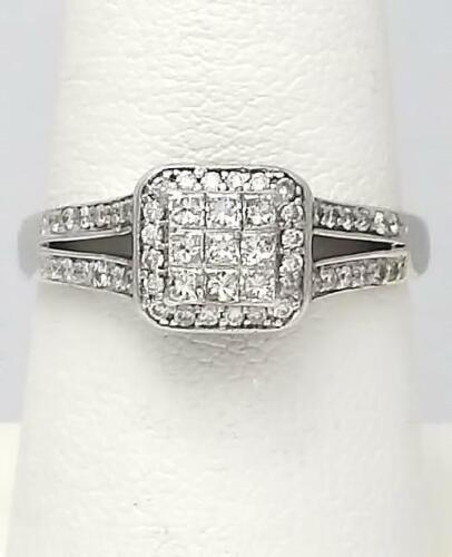 Composite Halo Diamond Accent Square Promise or En