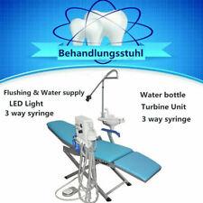 Portable Dental Folding Chair 4 Hole Weak Suction 3 Way Syringe With Led Light
