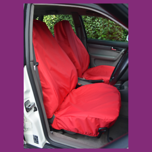Front Pair Car Van Red Waterproof LARGE Universal Airbag Compatible Seat Covers