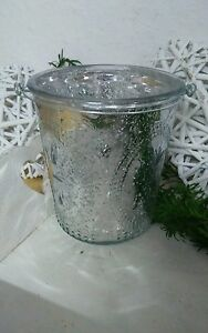 windlicht gro bauernsilber mit griff glas laterne shabby chic ebay. Black Bedroom Furniture Sets. Home Design Ideas