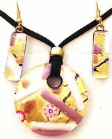 PINK GOLD  AUTHENTIC MURANO GLASS NECKLACE EARRINGS JEWELRY SET 12MG