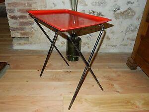 TABLE-PLIANTE-TUBAUTO-ROUGE-VINTAGE-ANNEES-60