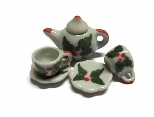 Christmas Painted Teapot /& Coffee Set Dollhouse Miniatures Ceramic Supply Food