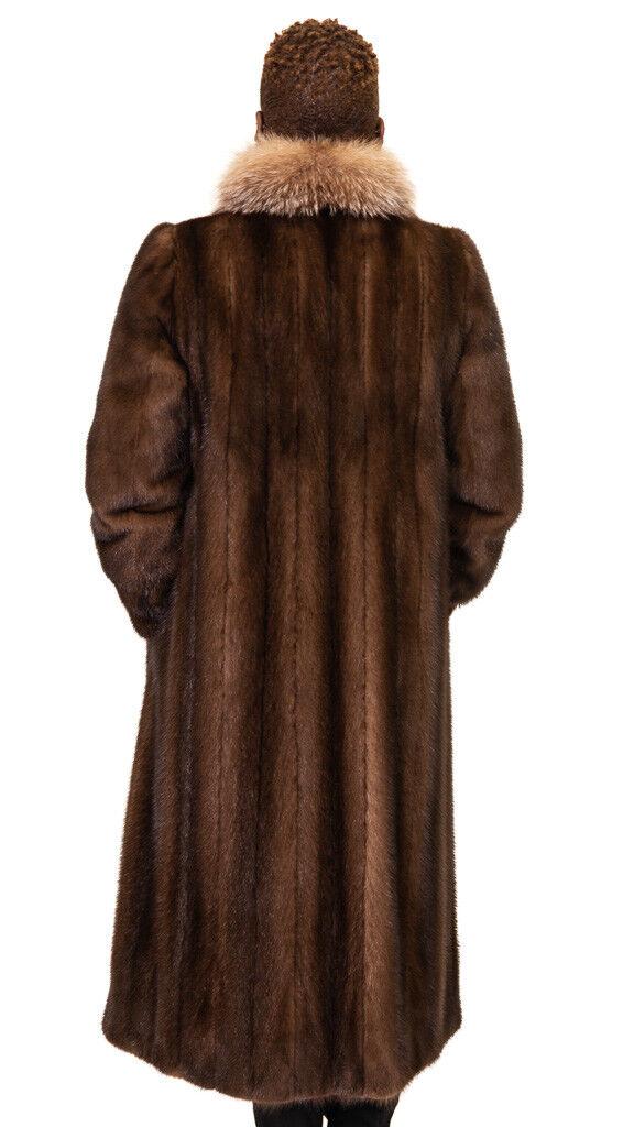 """Lunaraine Mink Fur 45"""" Coat with Crystal Crystal Crystal Fox Tuxedo Trim, sz 6 1b75bd"""