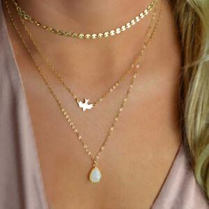 Peace-Pigeon-Water-Drop-Opal-Pendant-Necklace-Multi-Layer-Chain-Choker-Jewelry