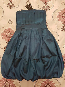 Deep-Ocean-Blue-Satin-Bubble-Formal-Cocktail-Dress