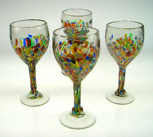 Wine Glasses Mexican Glass Confetti Design Hand Blown