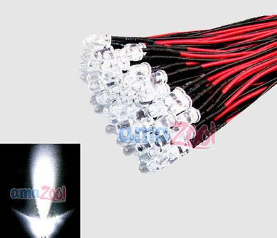 20pcs 3mm White LED Pre Wired Lights 12V 20cm Bulbs Lamp New 3MM WHITE Led New