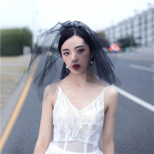 Vintage Wedding Bridal Face Veil Tulle Mesh Net White Black Birdcage Photography
