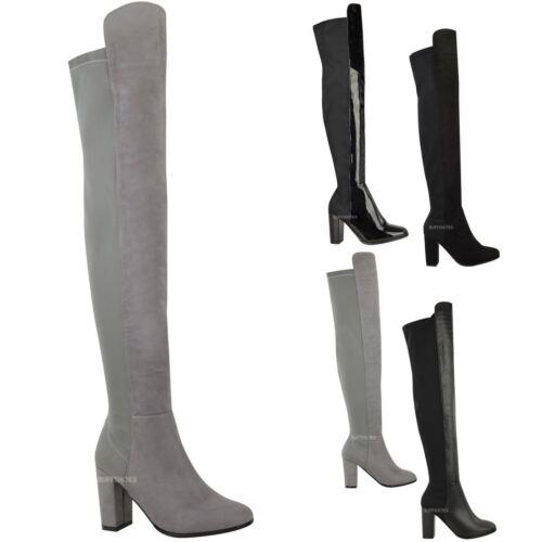 Nouveau haut femmes bottes cuissardes overknee high block heels extensible chaussures taille