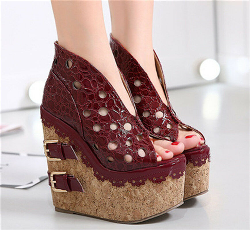 Womens Peep Toe Sandals Suede Ankle Boots Hollow Out UK 2.5-8 Sexy Sandals shoes