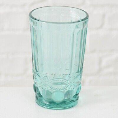 Trinkglas MILANO 300 ml Ornament TÜRKIS grün Saftglas Milchglas grünes Glas 13 c