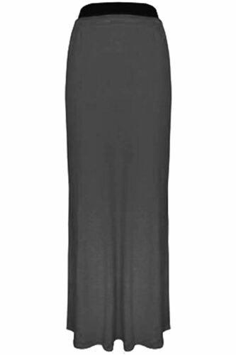 Womens Ladies Plain Elasticated Gypsy Stretchy Flared Franki Long Maxi Skirts