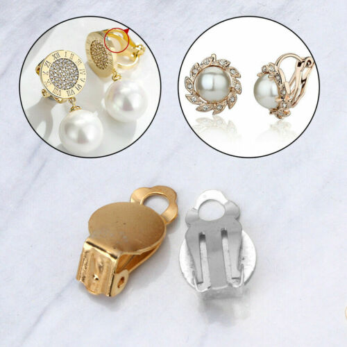 50Pcs Flat Round Tray Brass DIY Clip-on Earrings Non Piercing Jewelry Findings