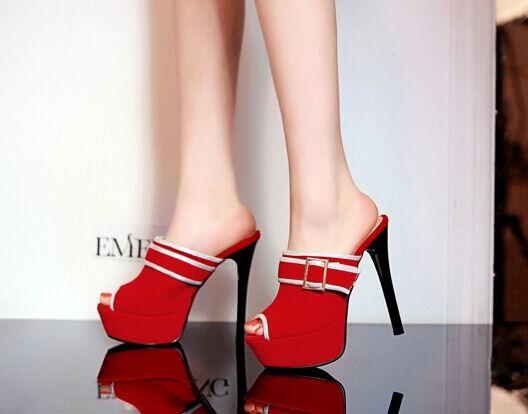 zapatos ciabatte sabot sandali tacco spillo  13.5 cm rojo stiletto elegante 9286