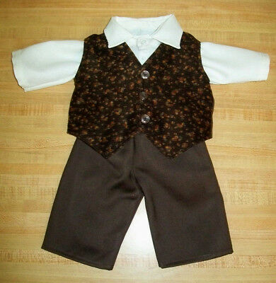 """CREAM SHIRT+BROWN FLOWERED CORD VEST+BROWN PANTS for 20/"""" TRU CPK Cabbage Patch"""