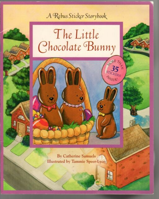 The Little Chocolate Bunny A Rebus Sticker Storybook Unused Vintage C. Samuels