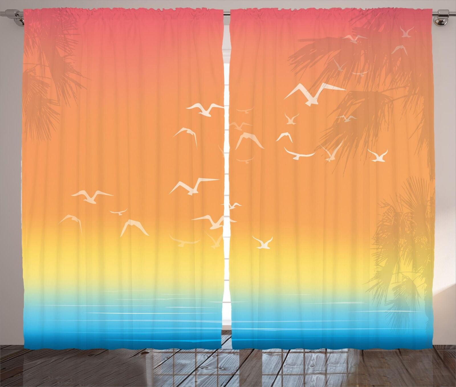Seagulls Curtains 2 Panel Set for Decor 5 Dimensiones Available Window Drapes