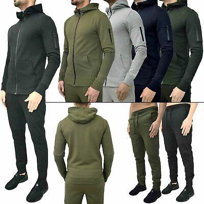 New Mens Full Tracksuit Hoody Zip Up Sweatshirt Top Skinny Slim Fit Joggers