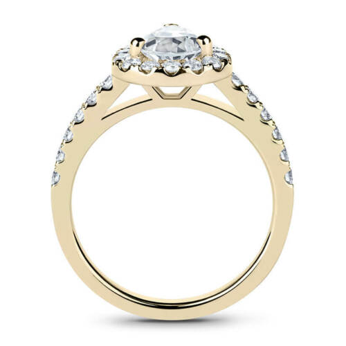 Beautiful 14K Yellow Gold 1.35 Carat Oval Cut Moissanite with Accents Halo Ring