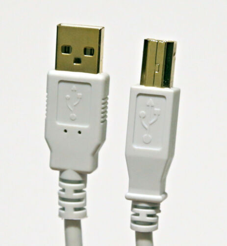 White Shielded USB Printer Cable Male A to B Gold Connectors Lot of 5 five
