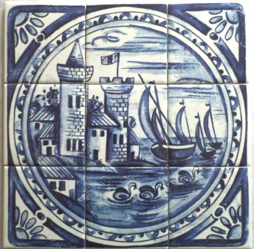 Blue Delft Design Castle Ceramic Tile Mural  9pc 4.25  Back splash Kiln Fired