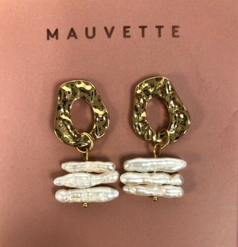 Mauvette Gold Finish Triple Bar Pearl Droplet Earrings New Gift #NG