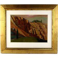 P Original Signed Modern Expressionist Rock Form Landscape Study Oil Painting