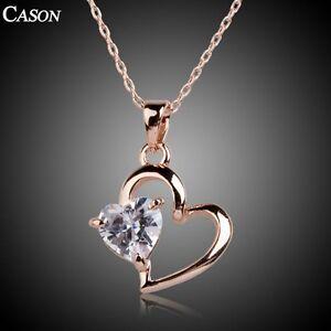 Women-Cubic-Zirconia-Love-Heart-Pendant-18K-Rose-Gold-Necklace-Christmas-Gift