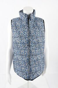 J-Crew-Womens-Printed-Puffer-Vest-Medium-Blue-White-Cheetah-Spotted-B9330