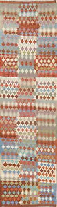 3x10 Flat-Woven Geometric 10 ft Turkish Kilim Runner Rug South-west Wool Carpet