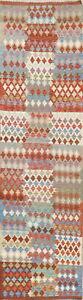 3x10 Flat-Woven Geometric 10 ft Turkish Kilim Runner Rug South-west Wool Carpet