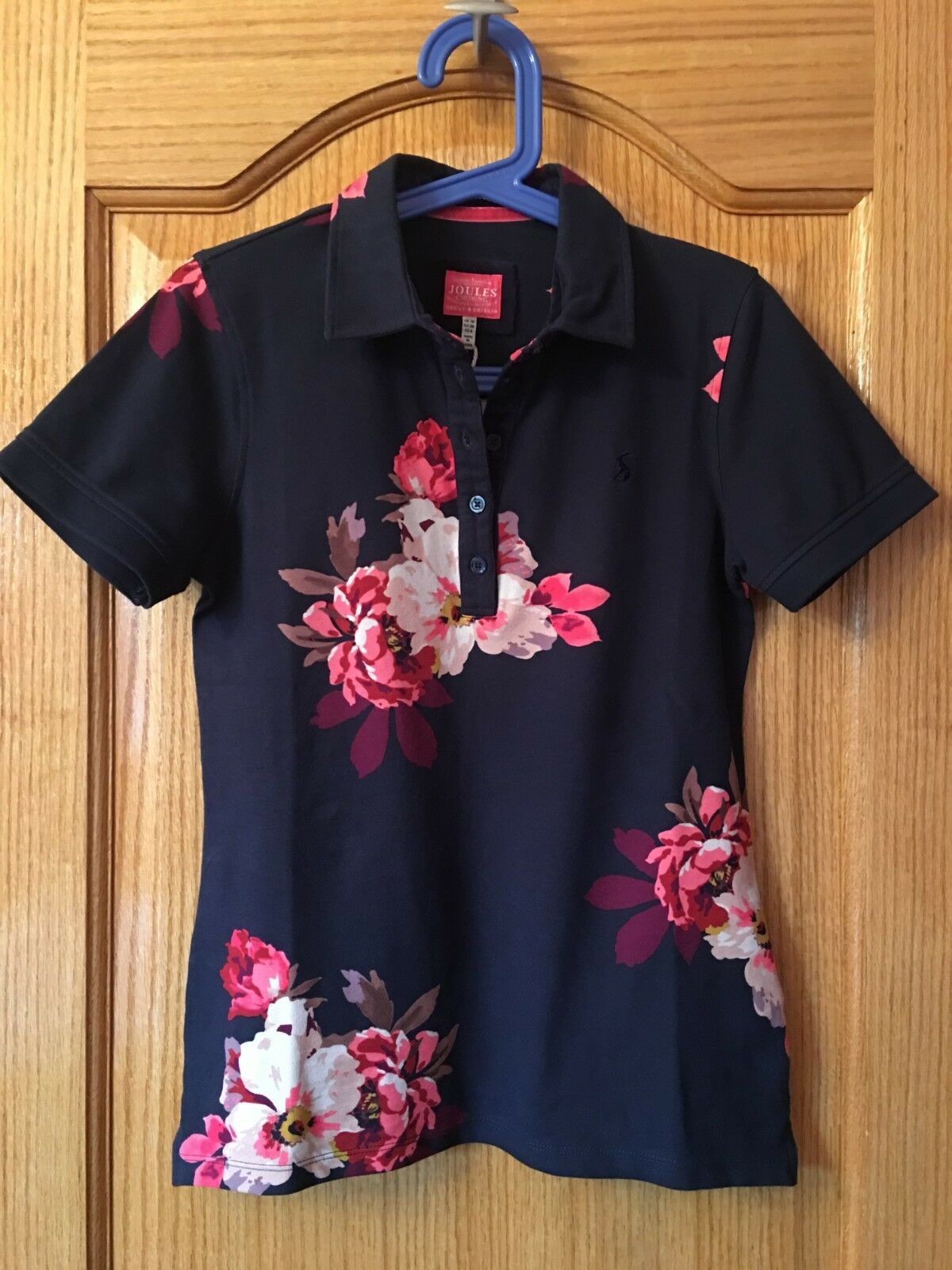 NWT Ladies JOULES French Navy Bircham Bloom PIPPA Print Polo Shirt Sz US 6