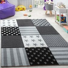Grey Rug Kids Bedroom Children Nursery Star Carpet Uni Thick Playroom Mat